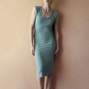 All Saints Mara Knit Midi Dress Grey Marl US6